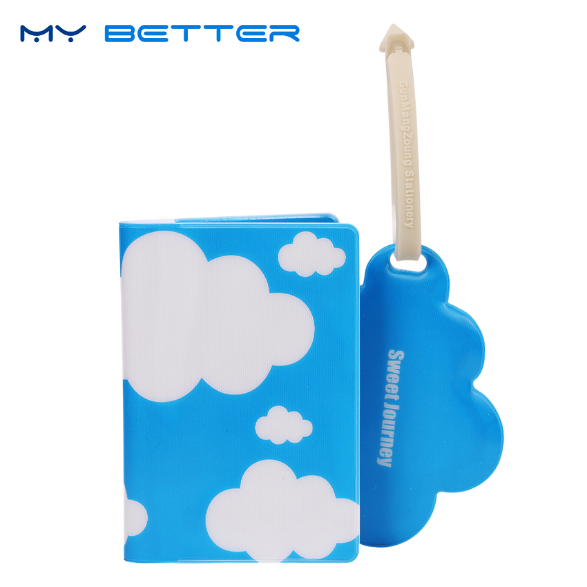 Korean Style Passport Cover Passport Holder Creative Luggage Tag Silicone Strap Love Clouds Styles clouds without rain