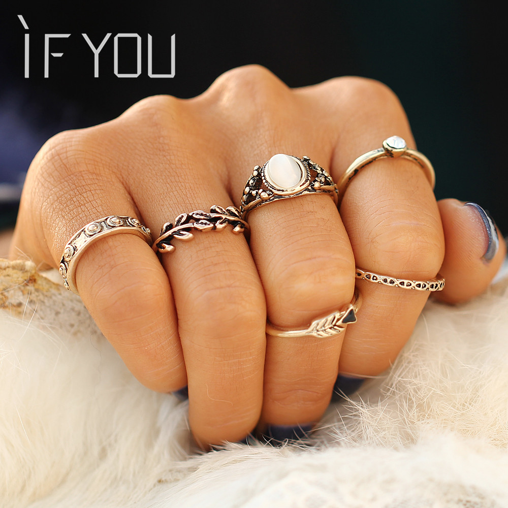 Vintage Lucky Gold Color Midi Rings Set Boho Beach Tibetan Retro Crystal Female Ring Sets for Women Jewelry Gift 6PCS/SET