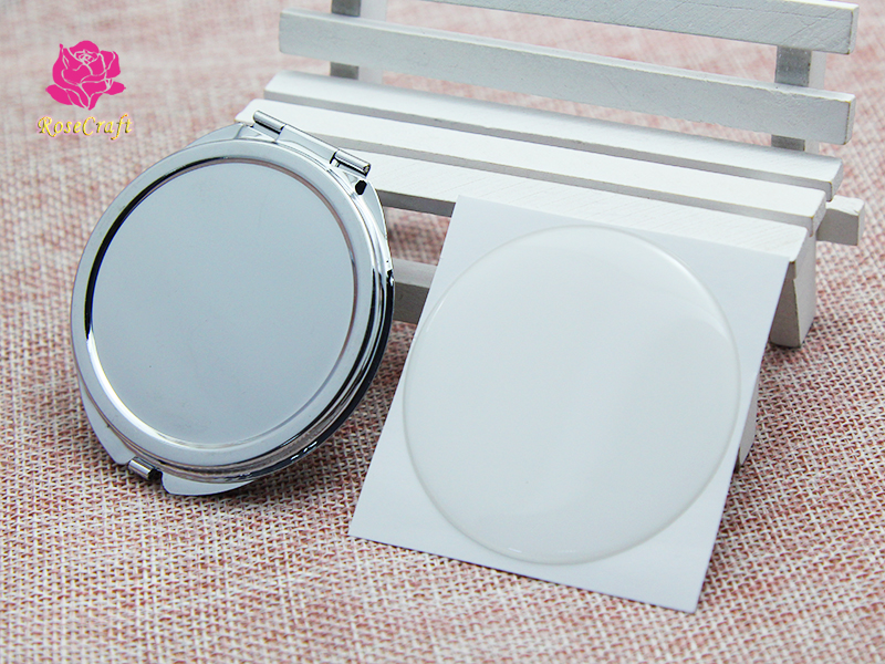 5 Kits 50mm Silver Blank Compact Mirror Round Metal Make Up Pocket Mirror DIY Gift For XMAS+50mm Clear Epoxy Sticker