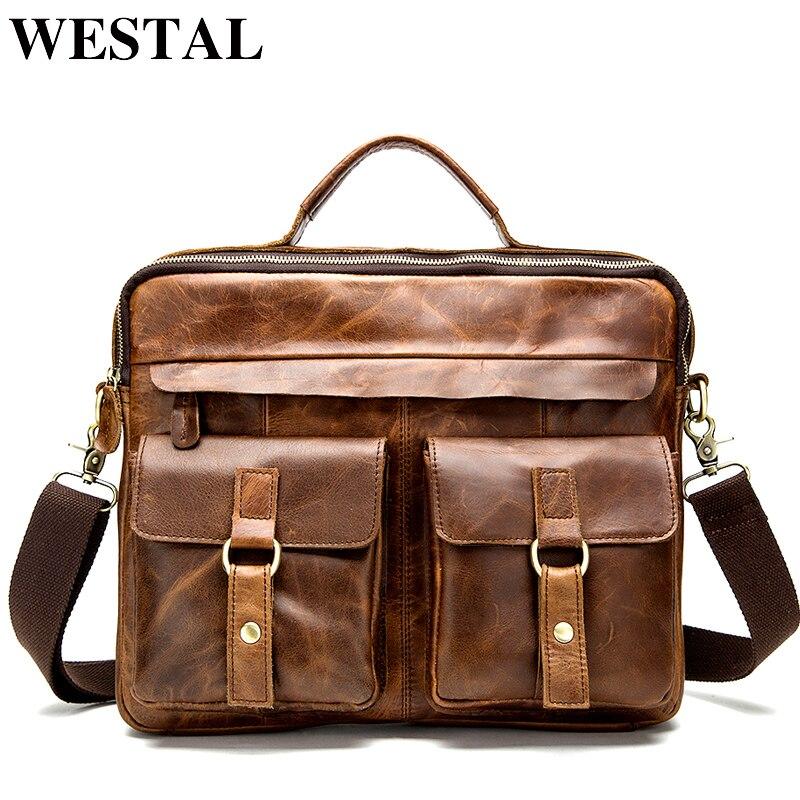 WESTAL حقيبة ساعي بريد للرجال جلد طبيعي 14 ''حقيبة لابتوب الأعمال المحمولة أعلى حقائب بيد الذكور Crossbody حقائب كتف 8001-في حقائب قصيرة من حقائب وأمتعة على  مجموعة 1