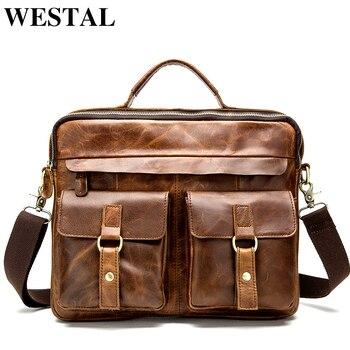 76f599b00dbc3 WESTAL omuz çantası erkekler Hakiki Deri 14 ''laptop çantası Iş Taşınabilir  Üst-saplı çanta Erkek Crossbody omuz çantaları 8001
