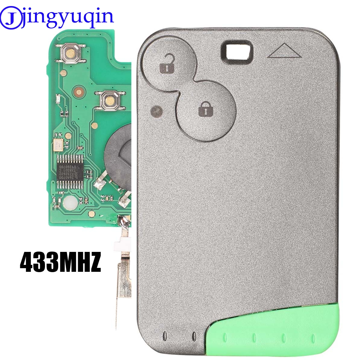 jingyuqin 10p 433 MHz Pcf7947 Chip 2 Button Remote Card Smart Car Key for Renault Laguna