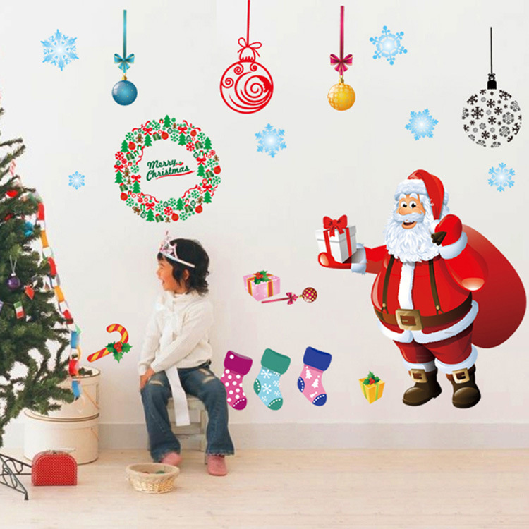 Hot Diy Gift Christmas Decoration Wall Stickers New Year Shop Living
