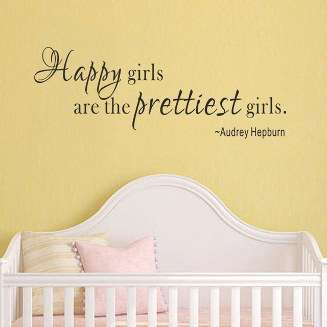 Girls Room Wall Decal Happy girls are the prettiest girls Audrey ...