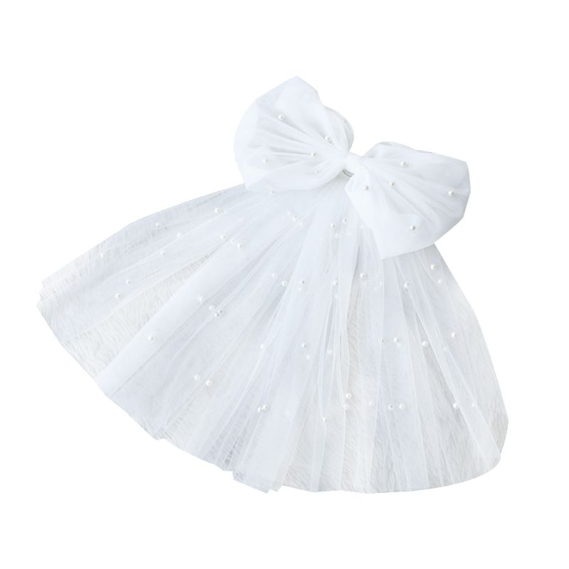 Tulle Wedding Dress Veils White Bowknot Multi Layer Bridal Fluffy Hair Veil Comb Fake Pearls Bride Fairy Marriage Accessories