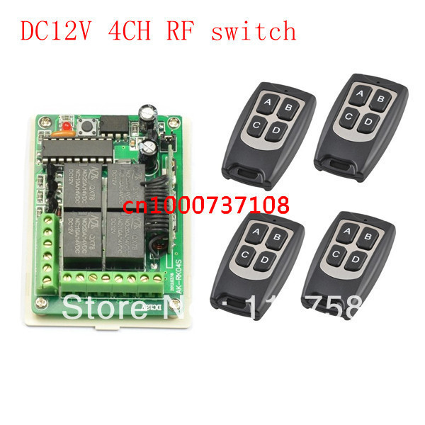 12V 4CH RF Remote Control Switch System Wireless Receiver Transmitter Learning Code 433/315Mhz .4 Relay Receiver System цены онлайн