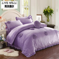 Purple Quilt Cover Flannel Bedding Rose Style Large Warm Quilt Suit for Winter A Comfortable Quilt is an Essential Bedding