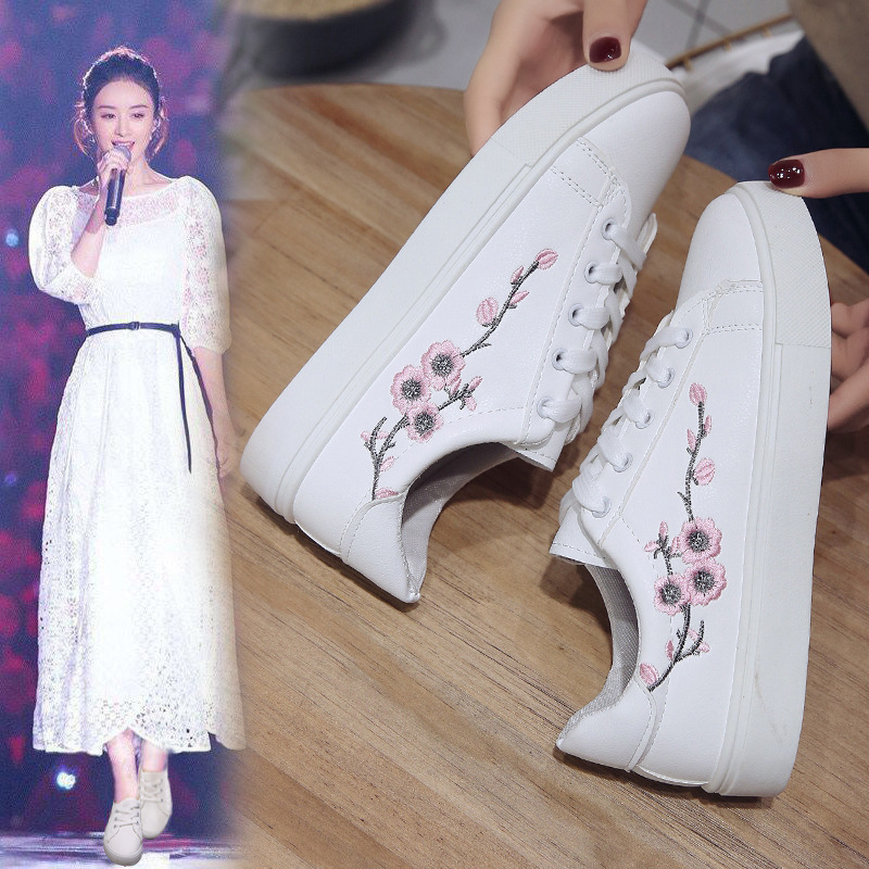 Sagace Flower Embroidery Women Sneakers Lace up Casual Tenis Summer Casual Breathble Walking Woman Canvas Shoes S0842
