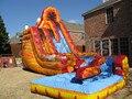Envío gratis por mar Popular diapositiva inflable comercial, tobogán inflable con piscina venta