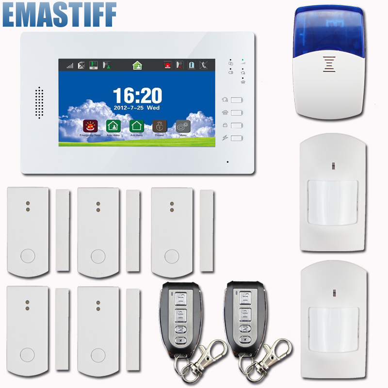Free shipping,new arrival,touch screen keyboard GSM home alarm system with 5 smart door sensor & 2 PIR &Wireless Siren free shipping wireless tcp ip gsm alarm system home security alarm system smart alarm system with external siren