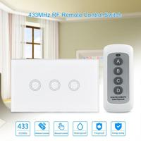 QIACHIP US Standard Touch Switch Wall Switch 3 Gang 1 Way Home Luxury Glass Panel Light