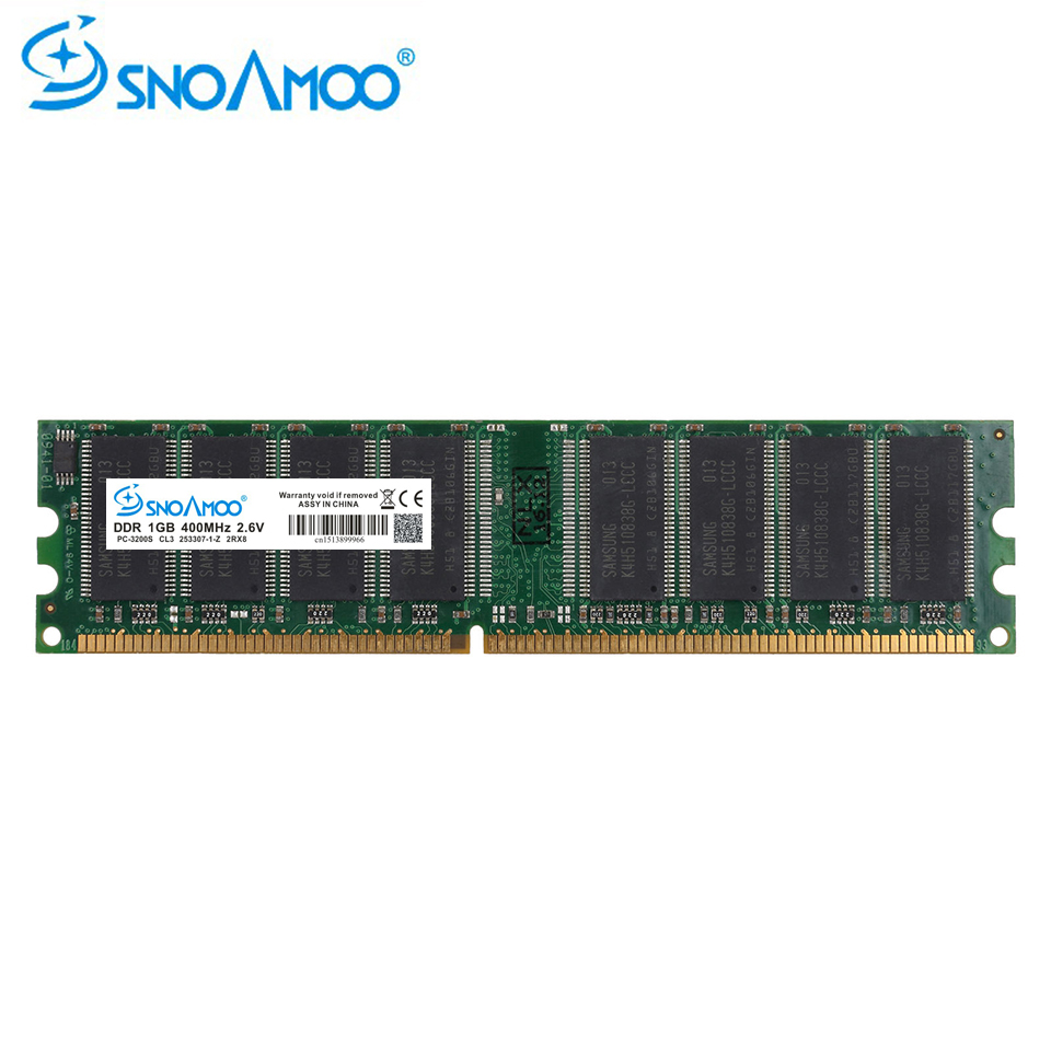 SNOAMOO Desktop PC RAMs <font><b>DDR</b></font> <font><b>1GB</b></font> 400MHz 333MHz RAM PC-3000S DIMM Non-ECC Computer 184 Pin For Intel For AMD RAM Lifetime Warranty image