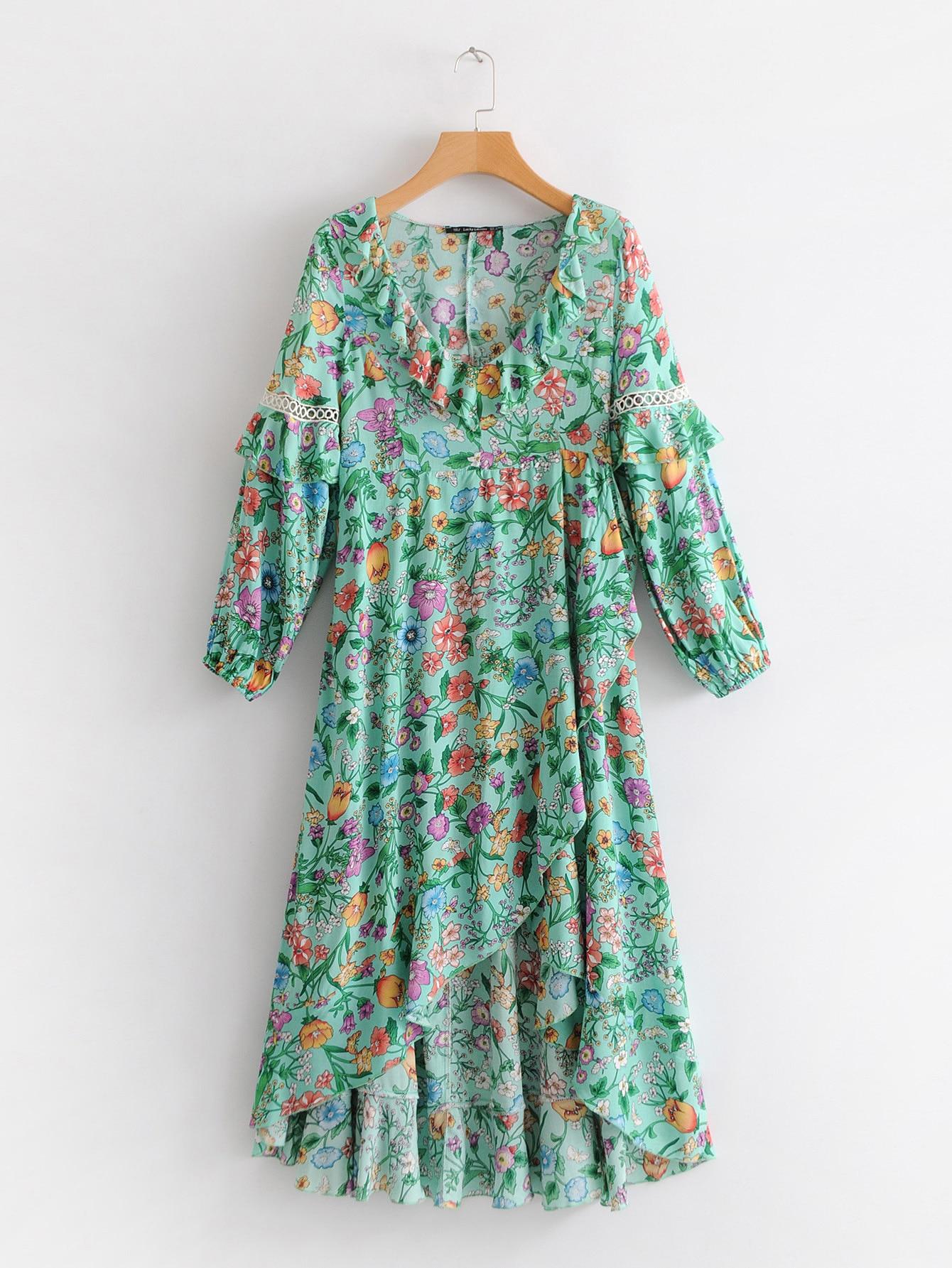 a4cb2e5e0d3c Vestido de flores con volantes vestido Midi bohemio Chic para mujer Vestido  de playa con volantes dobladillo vestido Hippie Vestidos de mujer