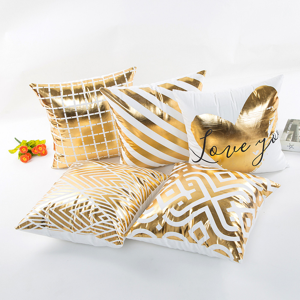 Fashion Geometric Gold Foil Printing Pillow Cover 45cmX45cm High Quality Sofa Waist Throw Cushion Cover Bed Home Decoration-in Cushion Cover from Home & Garden