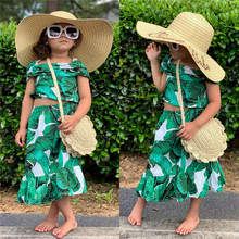 Two Piece Set Toddler Kids Baby Girl Clothes Short Sleeve Ruffles Crop Tops Elastic Long Skirt Fashion Casual Outfit Summer 1 5t toddler kids baby girl clothes set long sleeve ruffle tops denim skirt dress set elegant summer fashion outfit set