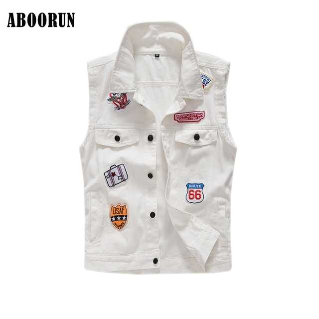 fc2f155036be73 Mens White Denim Vest with Patches Casual Slim fit Sleeveless Jackets Male  Jeans Waistcoat Brand Clothes