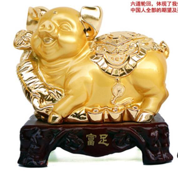 Move golden pig ingot Gold Pig Arrangements Bright Fortune making crafts home decoration Imitation Copper Resin Art Craft