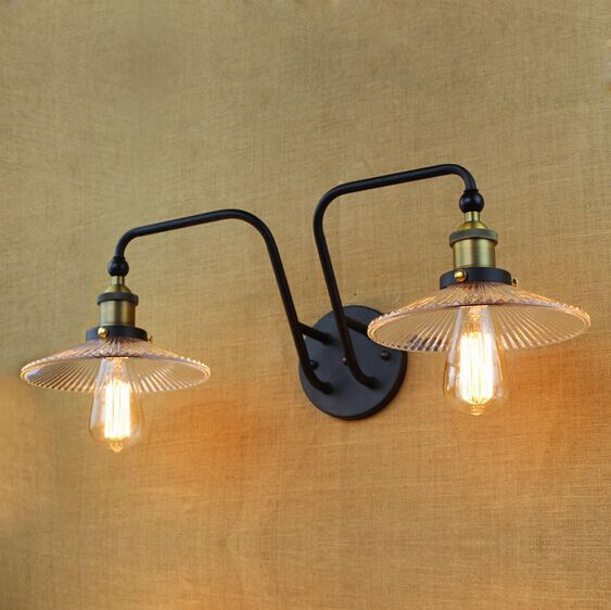 IWHD American RH Loft Style LED Wall Lamp Vintage Industrial Wall Lights Glass Lampshade Bedside Light Fixtures Home Lighting led lamp creative lights fabric lampshade painting chandelier iron vintage chandeliers american style indoor lighting fixture