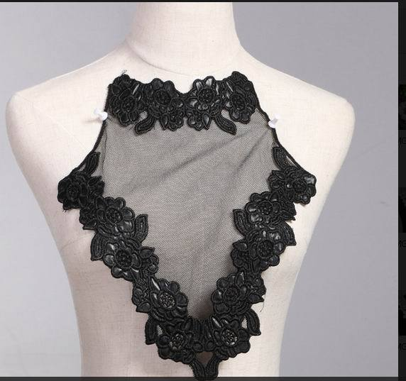 1 PCS Embroidery Collar Venise Lace Flowers Neckline Applique Trim, lace fabric sewing supplies