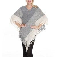 DSQUAENHD 2019 New Women Ladies Tassel Cape Coat Patchwork Poncho Coat Bohemian Shawl Pullover Poncho Autumn Winter Plus Size