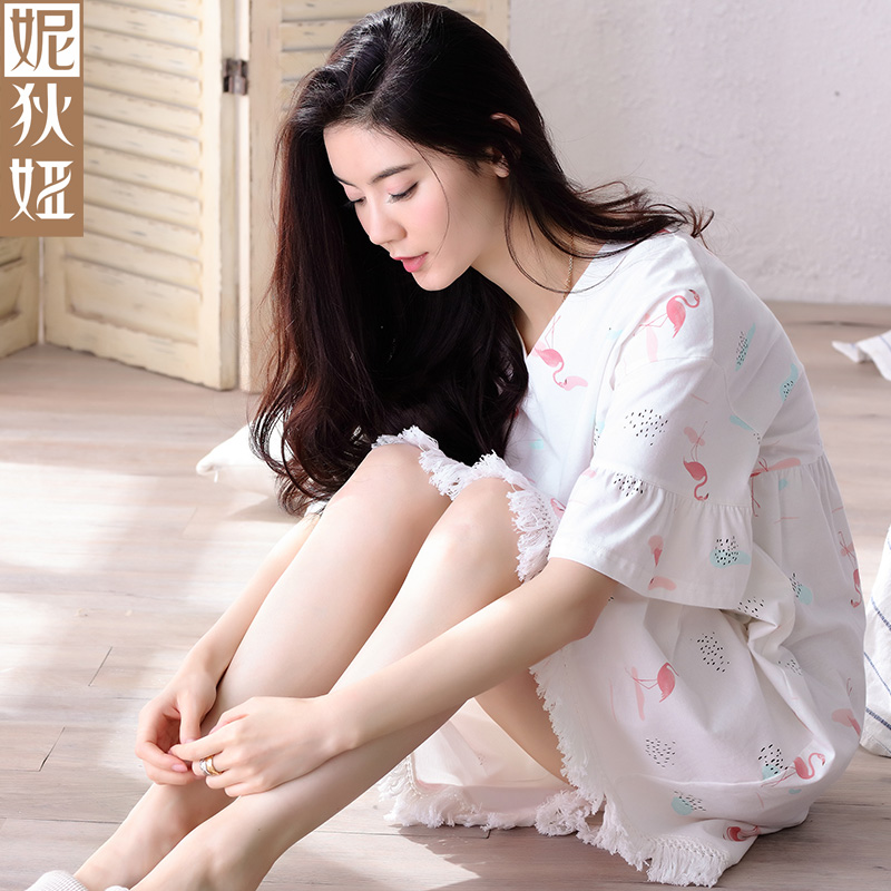 713ee97fc5ec NDY loose night skirt women Summer short sleeve Pure cotton sweet Short  skirt Cute cartoon Sexy white Korean style leisure wear