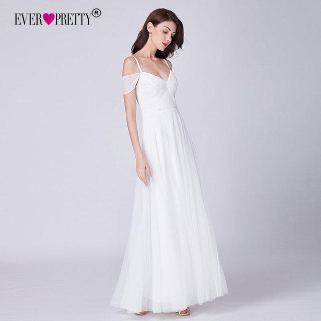 Simple Wedding Dress Ever Pretty EP07519WH Elegant A Line V Neck Lace Wedding Dresses Off Shoulder Bridal Gowns Vestido De Bodas