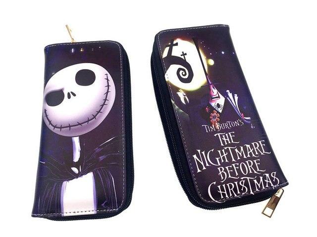 La pesadilla antes de Navidad Jack Skellington billetera de dibujos animados mujeres bolsos de moda niños monedero regalo hombres billetera larga