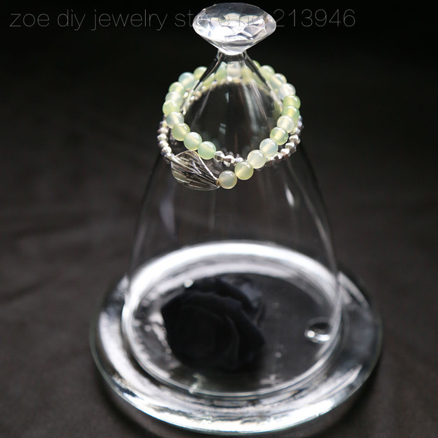 Original Design / Leaf / 925 sterling silver natural peridot stone women strand bracelets