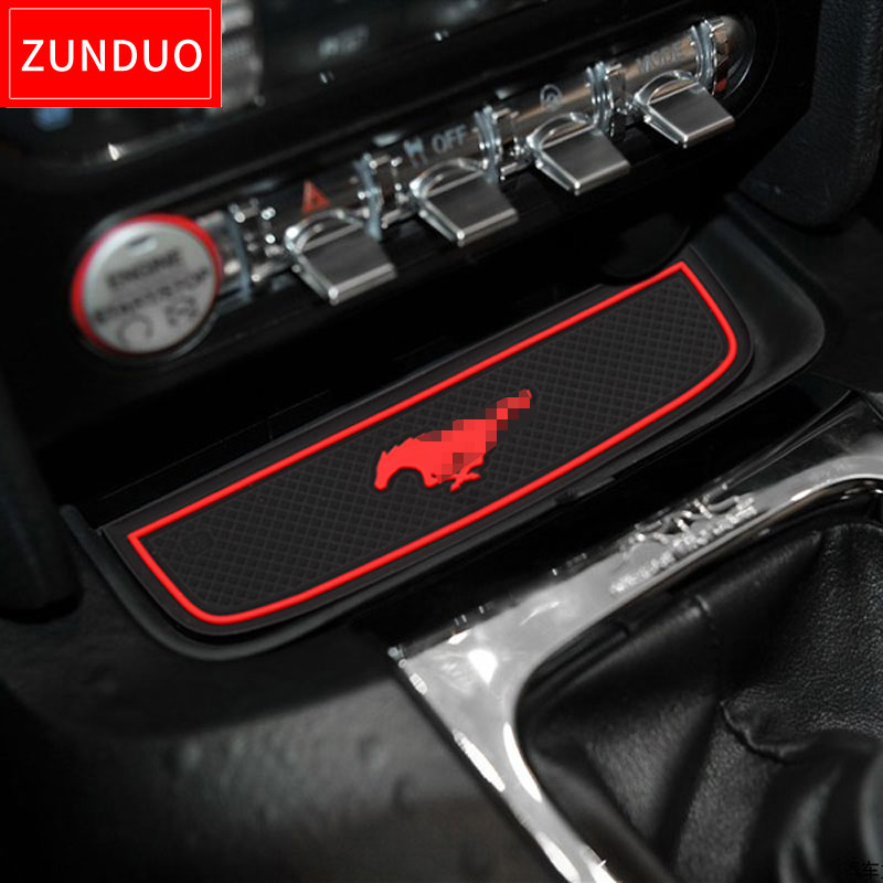 ZUNDUO Gate slot pad For Ford <font><b>Mustang</b></font> <font><b>2015</b></font> 2016 2017 2018 <font><b>2019</b></font> 6th Gen S550 EcoBoost Export GT Cup Holders Non-slip mats image