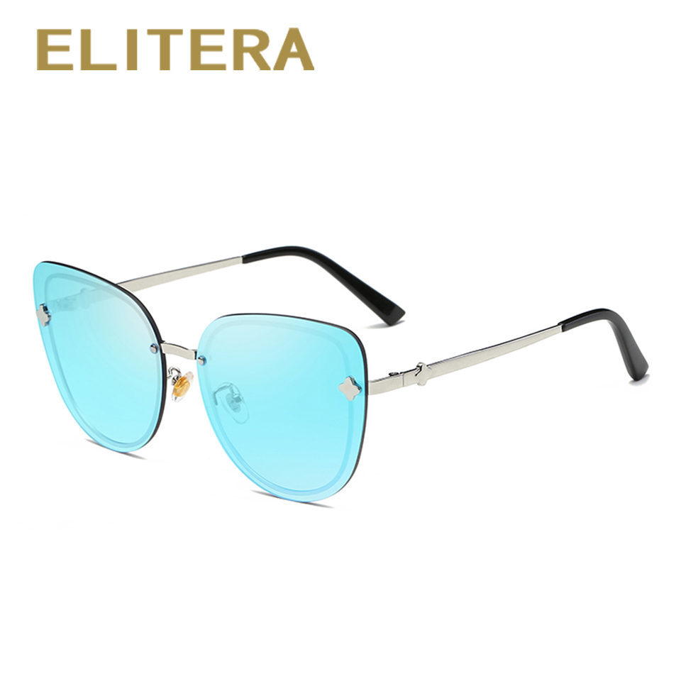 bbda117f7a ELITERA Fashion Cat Eye Sunglasses Women Brand Designer Sun Glasses Female  Ladies Shades Mirror Eyewear-in Sunglasses from Apparel Accessories on ...