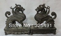 Lucky China Chinese Pure Bronze Fengshui Dragon Kylin Beast Statue Figure Pair  free shipping