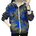 Viento BF Bomber Jacket Women Camuflaje Loose Chaquetas Con Capucha Harajuku Chaquetas Mujer 2016 Otoño chaqueta de Punto prendas de Vestir Exteriores Delgada Capa