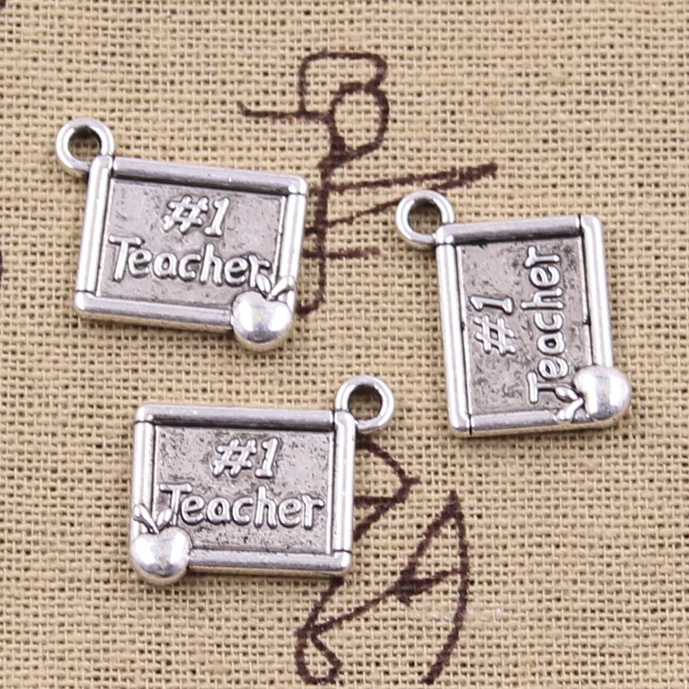 6pcs Charms #1 Teacher Apple 17x14mm Antique Silver Plated Pendants Making DIY Handmade Tibetan Silver Finding Jewelry