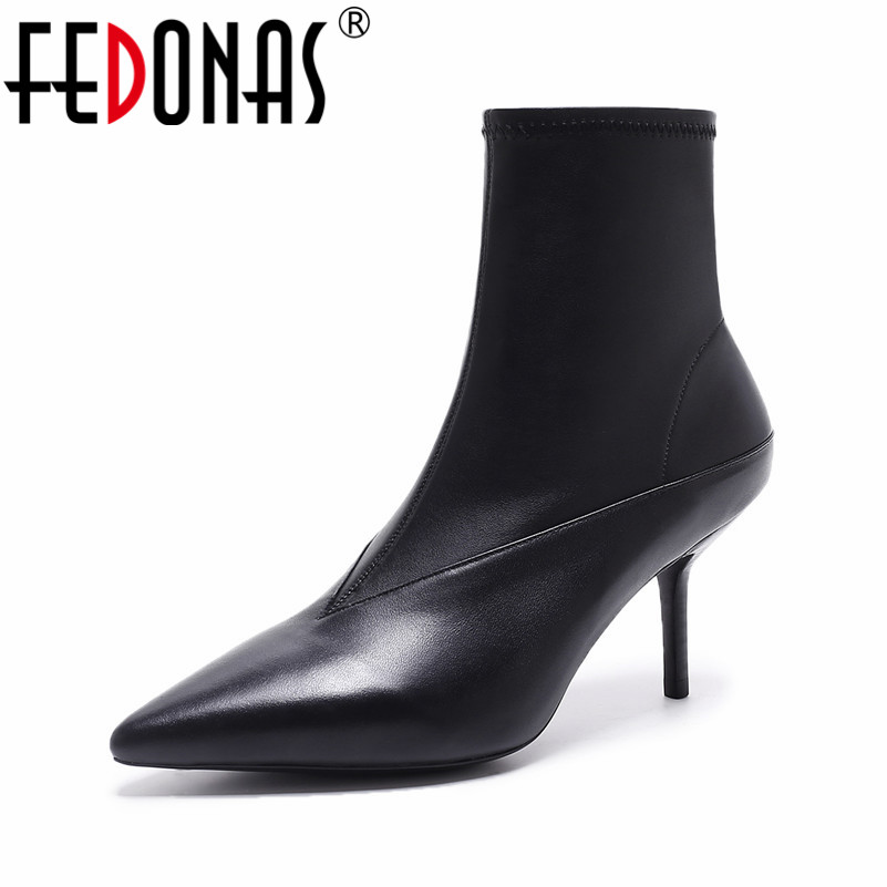 FEDONAS Fashion Brand Women Spring Autumn Sexy Genuine Leather Pointed Toe Ankle Boots Side Zipper Sock Boots Short Shoes Woman yanicuding round toe women flock ankle booties metal short boots zip design luxury brand fashion runway star autumn shoes flats