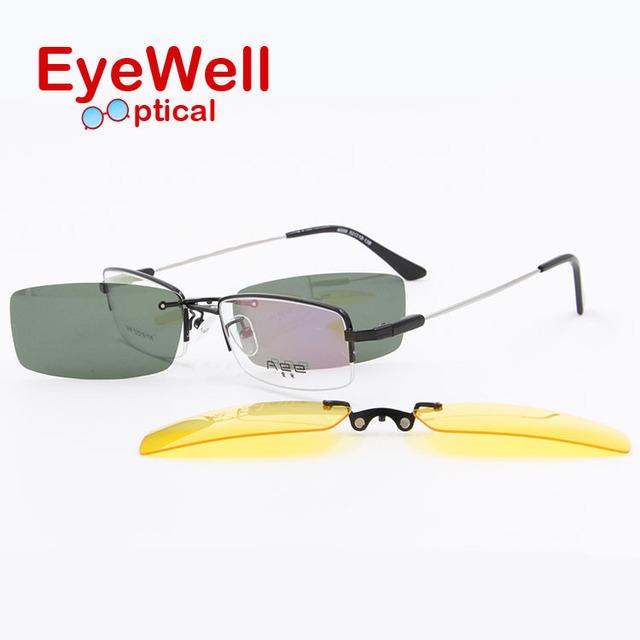 Alta qualidade Popular Unisex Polarizada Clip Sobre Óculos de Sol Óculos de Visão Noturna com o templo de memória frame ótico para homens e mulheres 6009