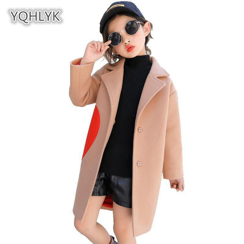 все цены на Children's Autumn Winter Girls Woolen Coat Lapel Long Sleeve Korean Girl coats Long Casual Kids Woolen Coat LKL171