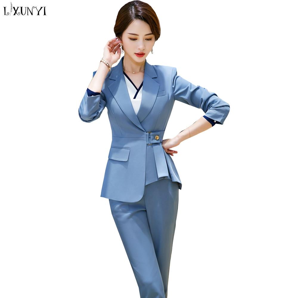 LXUNYI S-4XL Dames Blazers et Manteaux Plus La Taille De Mode Unique Bouton Mince Travail de Bureau Blazer Femmes Slim Coréenne Veste Blanc