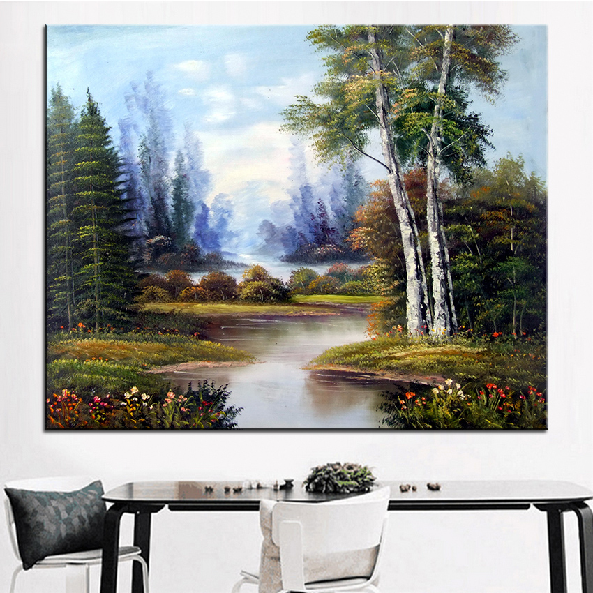 extra large wall painting of purple tree home office. Black Bedroom Furniture Sets. Home Design Ideas