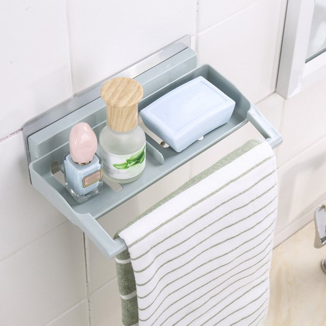 Plastic Strong Suction Shower Rack Soap Towel Holder Shelf Bathroom ...