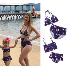 mother daughter swimsuit mommy and me bikini swimwear family matching clothes outfits look mom daughter baby dresses clothing(China)