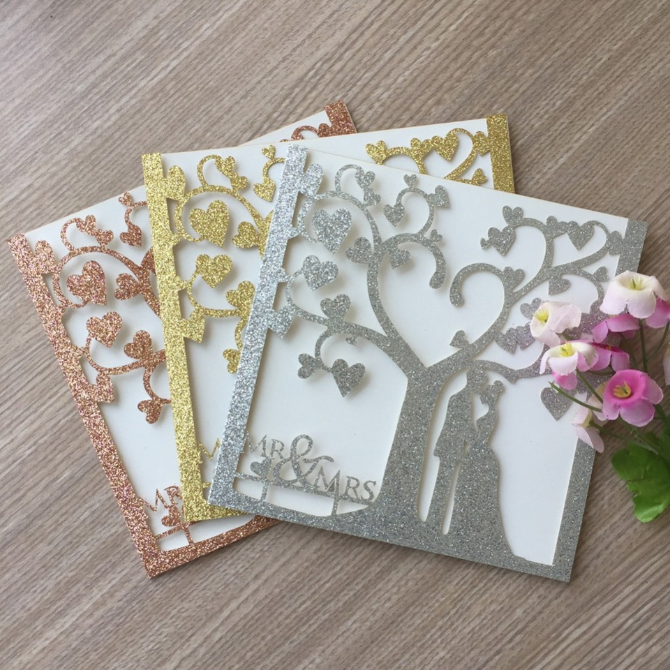 100pcs Laser Cut Glitter rose Gold Silver Color Party Romantic Chic Tree  couple Wedding Invitation Cards card blessing card Cards & Invitations  -  AliExpress