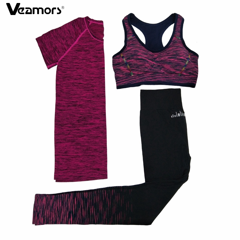 VEAMORS 3 Pcs Women Fitness Yoga Sets Running Yoga T-Shirt Tops & Bra & Pants Sport Suit Gym Clothes Workout Training Set women yoga pants sets fitness yoga leggings elastic tights sport running gym bra breathable pants t shirt 3pcs setleri clothes