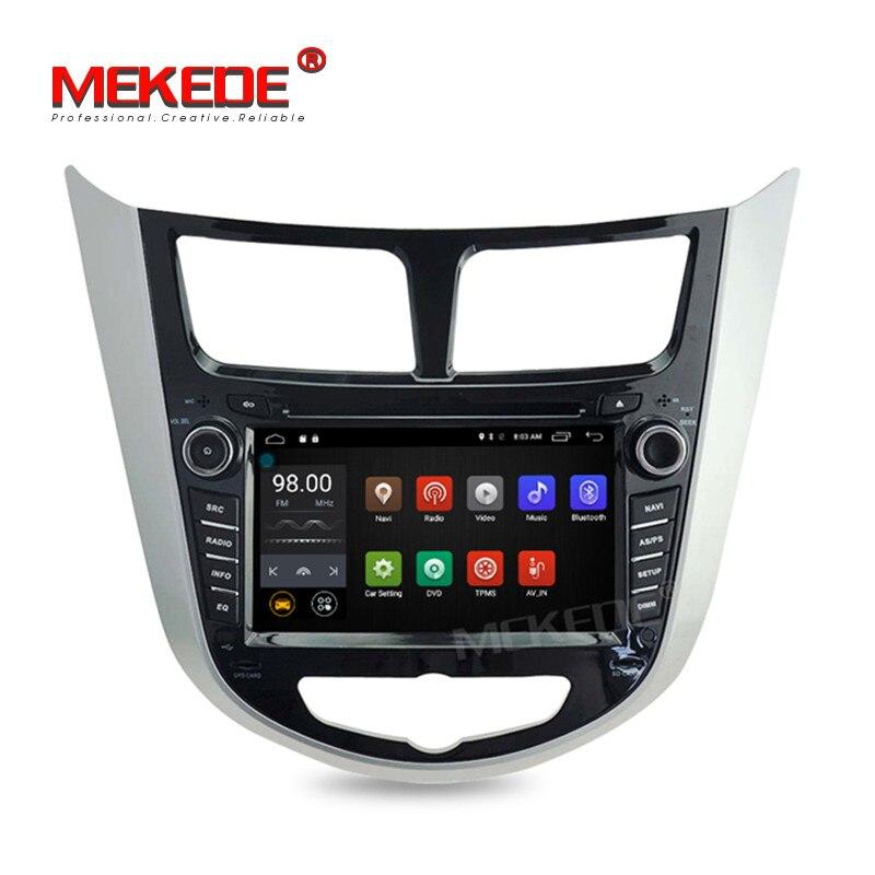 MEKEDE MT3561 Quad Core 2GB RAM Pure Android 7.1 Car GPS DVD player for hyundai verna Solaris support 4G wifi BT Radio Audio