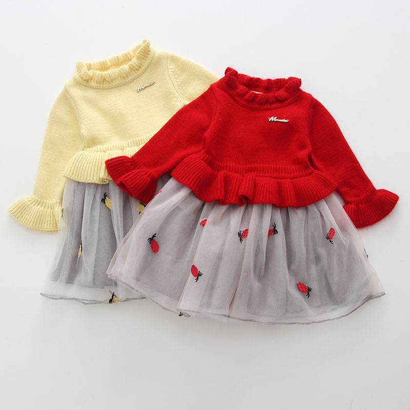 efad01e3b0ee Baby Clothes Christmas Baby Girl Clothes Knit Dress Kids Party Wedding Embroidery  Pineapple Tulle Dresses 0 2T red yellow-in Dresses from Mother & Kids on ...