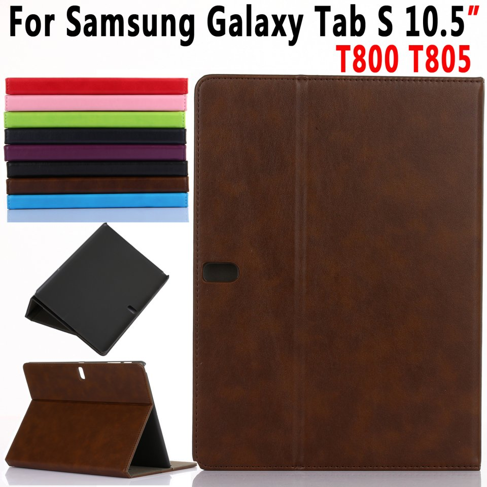 Premium Leather Cover for Samsung Galaxy Tab S 10.5 T800 T805 Smart Case Coque Capa Funda with Card Slot + Hand Holder + Stand for samsung galaxy tab s 10 5 case t800 t805 leather retro tablet fundas coque for samsung tab s 10 5 case cover with stand