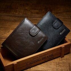 Роскошный мужской кошелек из натуральной кожи, брендовый винтажный кошелек на молнии с карманом для монет, мужской кошелек из натуральной к...
