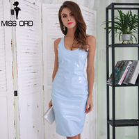 MISS ORD 2019 Sexy irregular neck latex sleeveless party dress FT8271 1