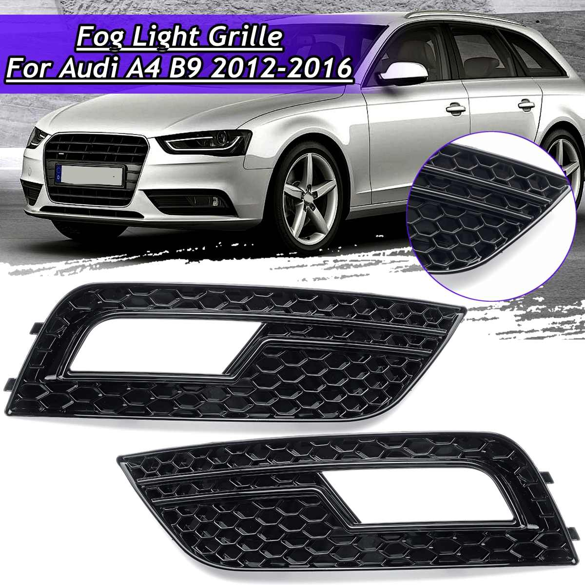 Pair Front Bumper Fog Light Grill Grilles Cover Glossy Black For Audi A4 B9 2012 2013 2014 2015 2016|Racing Grills| |  - title=