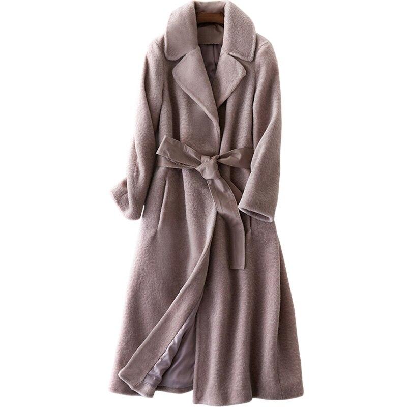 Réel Manteau De Fourrure Automne Hiver Manteau Femmes Vêtements 2018 Moutons Fourrure En Peau De Mouton Laine Veste Coréenne Slim Long Manteau Casaco Feminino ZT694