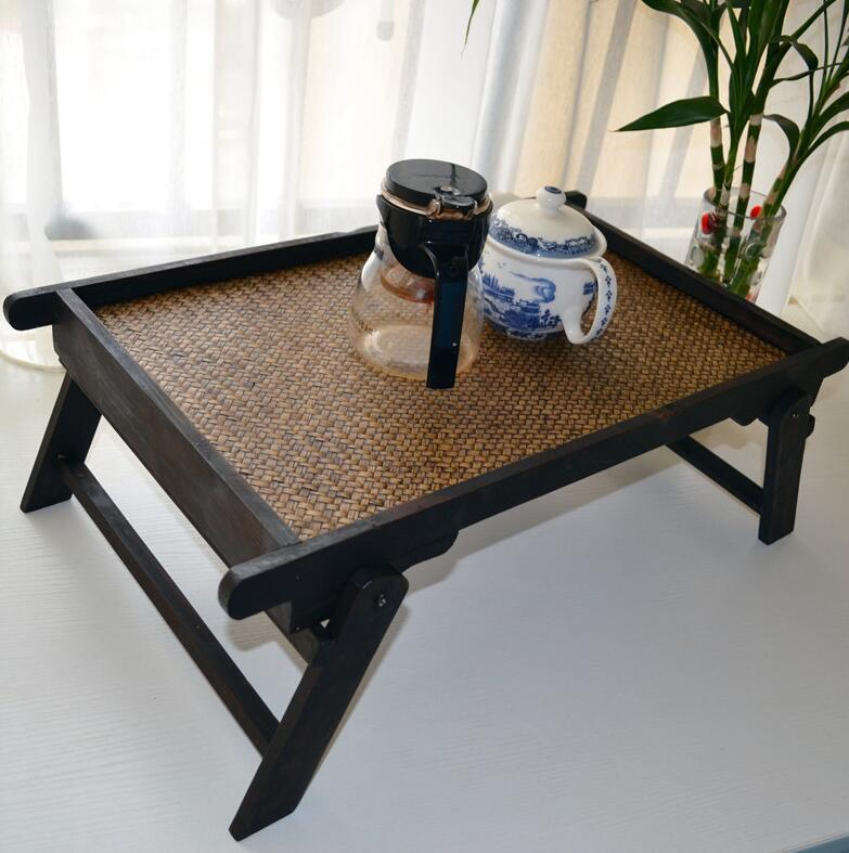 Portable Bamboo&Wood Foldable Breakfast Table Laptop Desk Bed Serving Tray TV Table Asain Style Low Tea Table Furniture Folding 100% bamboo kung fu tea set bamboo tea tray bamboo tea saucer large sea water type tea table storage tray trumpet